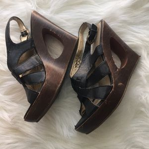 attention Shoes - Attention Black and brown wedges